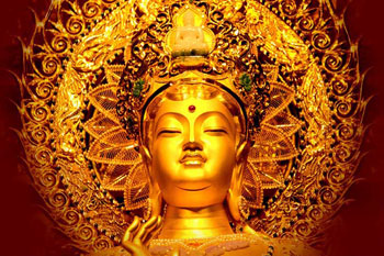 The head of a golden statue surrounded by a golden nimbus