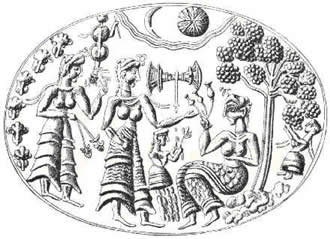 A Minoan signet ring depicting the Demeter and Persephone myth