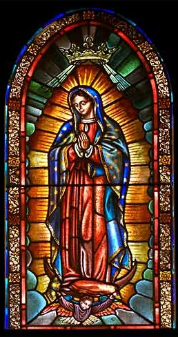 Mary and God: Our Lady of Guadalupe in stained glass