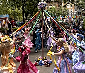 The traditional May Day maypole dance
