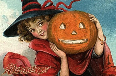 Girl with pumpkin lantern, emblem of Halloween