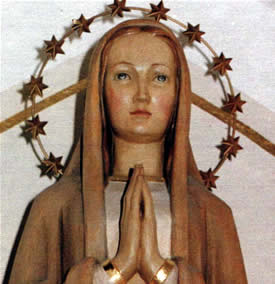 A statue of Mary with a crown of stars