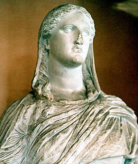 An ancient statue of the Greek Goddess Demeter