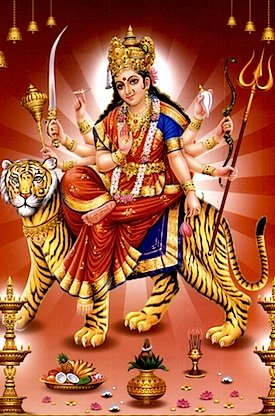 The Great Goddess Durga, mounted on a tiger