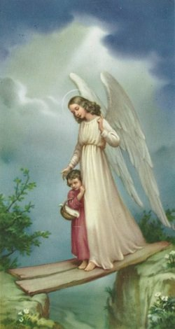 An angel protects a child in danger