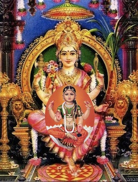 An Eastern image of God the Mother and Daughter, Sai Lalita and Sai Bala