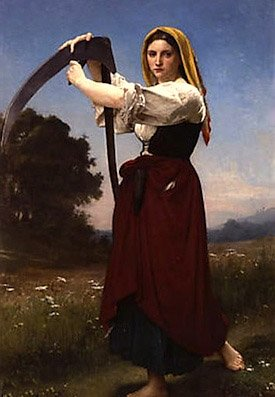 Maiden with scythe, symbol of death and the cycle of time, long associated with the Feast of the Dead
