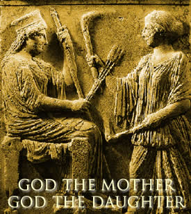 Stone relief from Eleusis showing the Greek Goddess Demeter and Her Holy Daughter